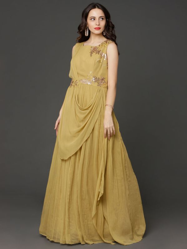 Georgette Drape Gown In Lemon Yellow
