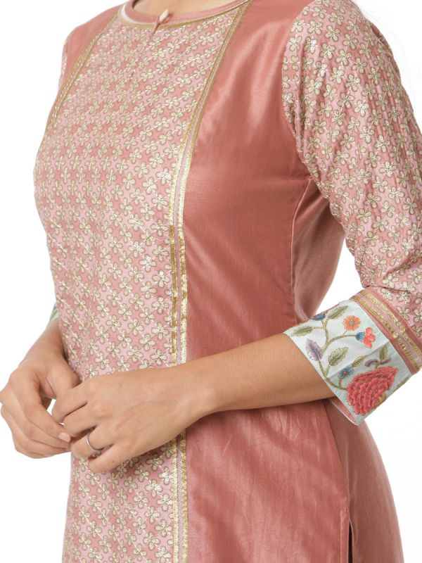 Peach Block Print And Zari Work Chanderi Salwar Pant Set With Heavy Sleeves And Dupatta