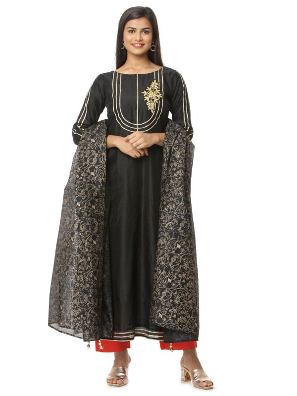 Black Dress With Gota Patti Yok Work Cotton Salwar Pant And Printed Dupatta