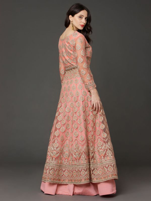Peach Crop Top Attached With Long Jacket And Ghaghra,Embroidery Sleeves And Net Dupatta