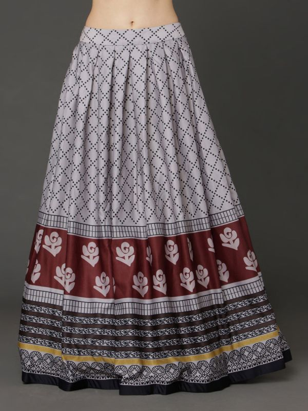 Metel Grey Crop Top With Digital Printed Ghaghra ,Fancy Sleeves With Satin Dupatta