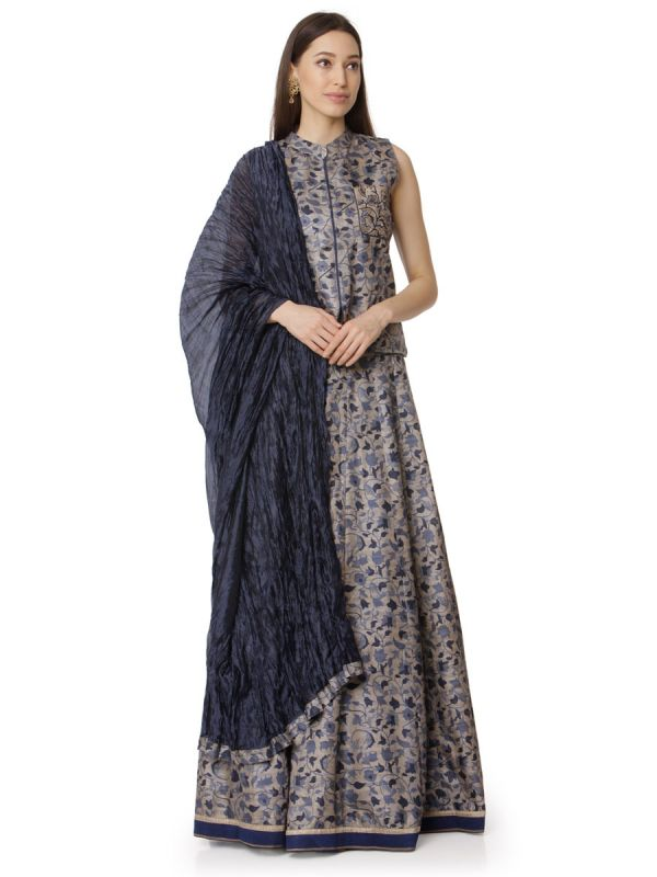 Stone Grey & Anchor Art Silk Digital Floral Printed Top With Pintex Yok Dupatta