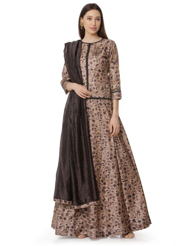 Copper Brown Art Silk Digital Floral Printed Top Plus Skirt With Pintex Yok And Brown Dupatta
