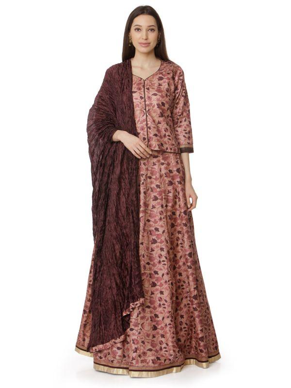Rust & Peach Art Silk Digital Floral Printed Top Plus Skirt With Pintex Yok And Dupatta