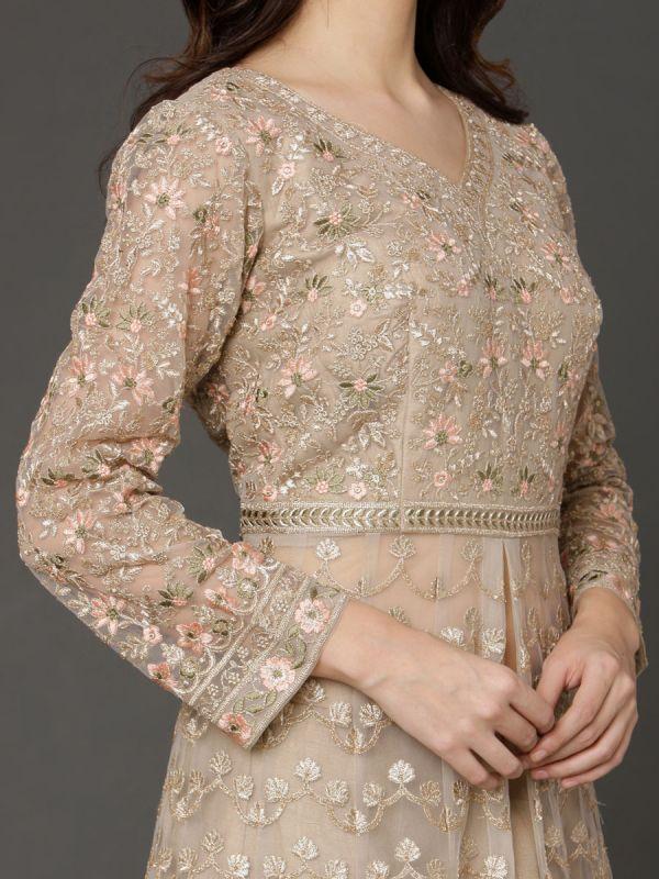 Beige Wedding Wear Dress Machine Embroidery Work On Net Attached Long Jacket Embroidery Sleeves, Net Dupatta