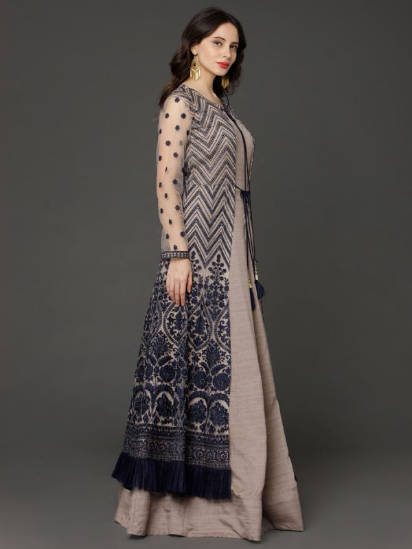 Beige & Navy Blue Embroidery Gown Along With Long Inner And Net Dupatta