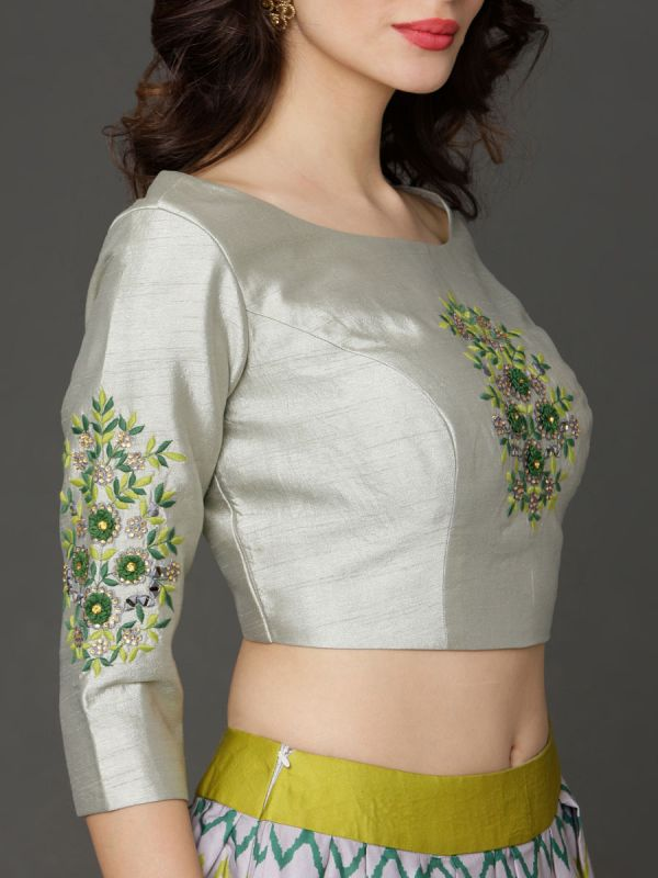 Green & Grey Trad Heavy Embroidery Work On Cotton Crop Top With Digital Printed Ghaghra, Embroidery Sleeves, Net Dupatta
