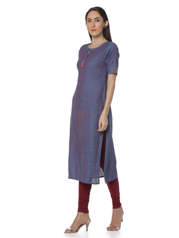 Plain Blue Colour South Cotton Casual Wear Straight Kurti Embroidery With Slits