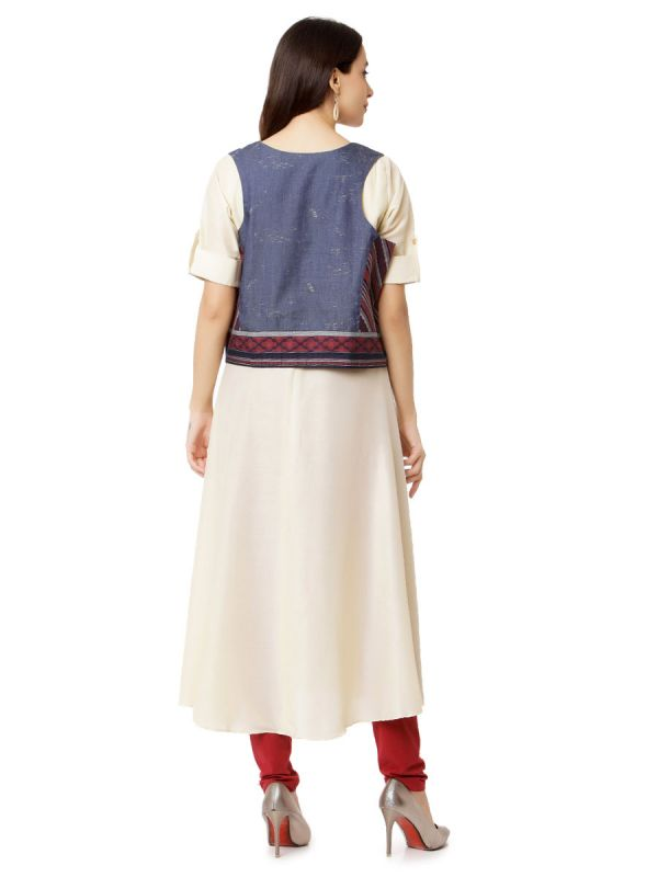 Cream Colour Cotton A Line Kurti With Inner And Denim Effect Jacket