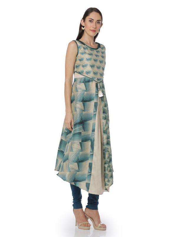 Art Silk Blue & Cream Colour Sleeveless Kurti With Falling Front Slits