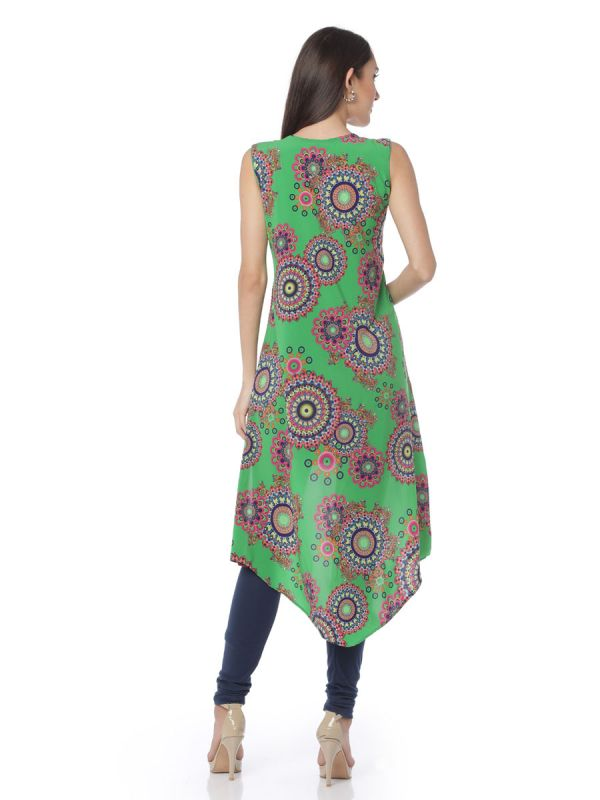 High-Low Cotton Straight Kurti With Green Printed