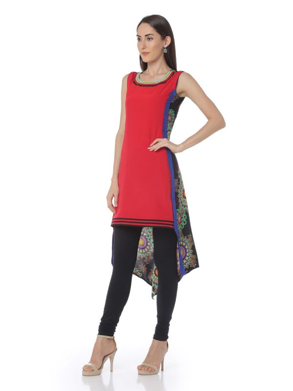 High-Low Cotton Straight Kurti With Back Printed