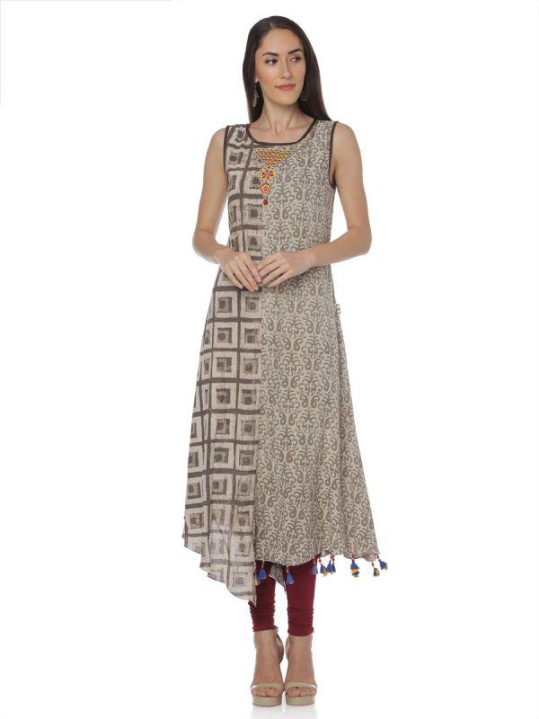Brown Colour Cotton Embroidery Kurti