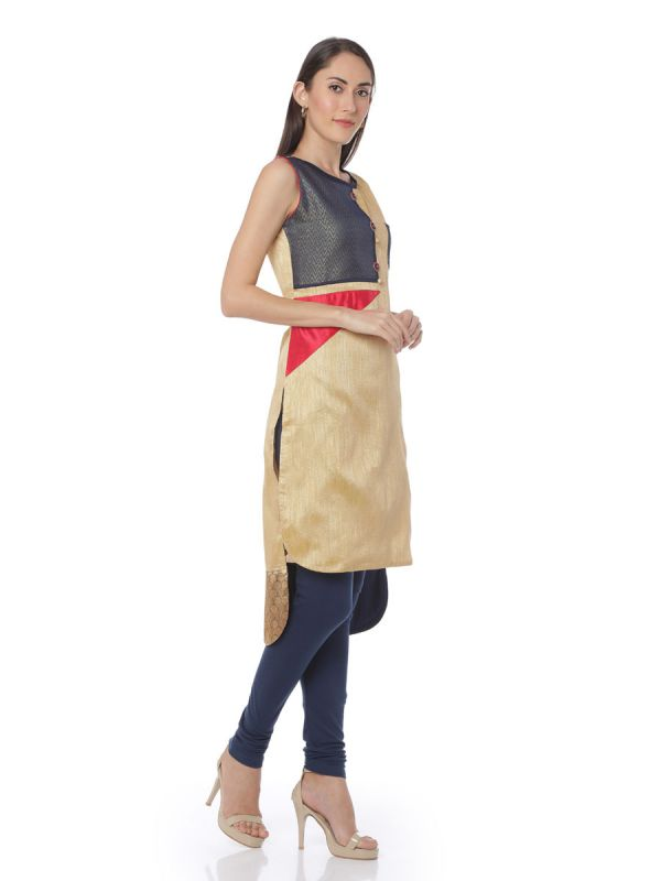Beige High-Low Straight Kurti With Front Upper Left Pocket