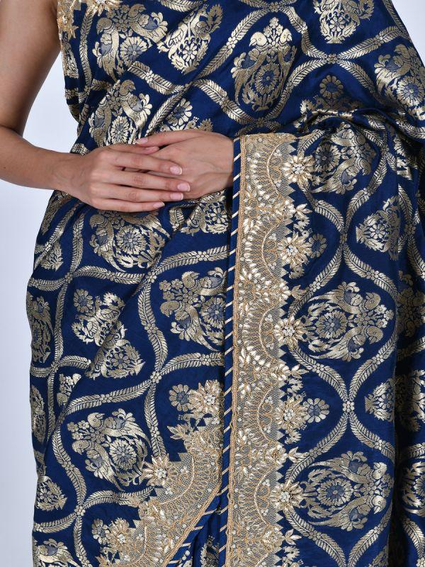 NAVY BLUE ART TUSSAR SAREE