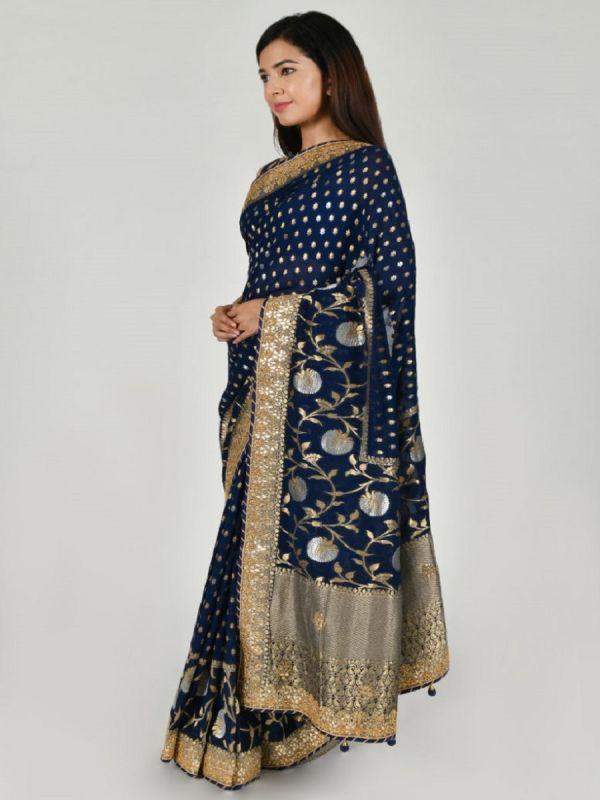 NAVY BLUE ART KHADDI SAREE