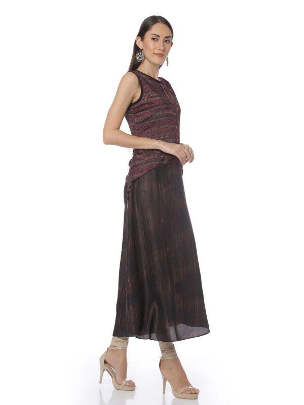 Two Layered Art Silk Black & Maroon Net Kurti