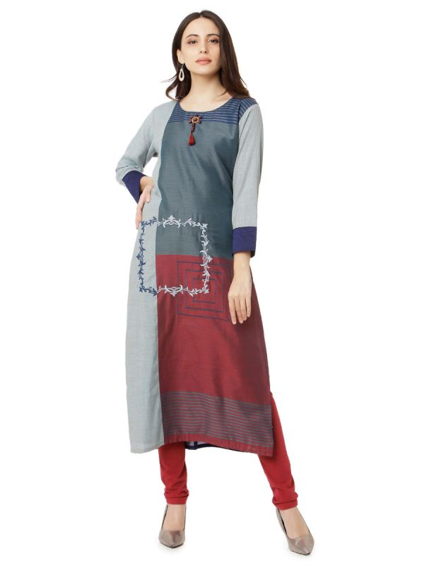 Grey Colour Embroidery Multicolour Strips Kurti