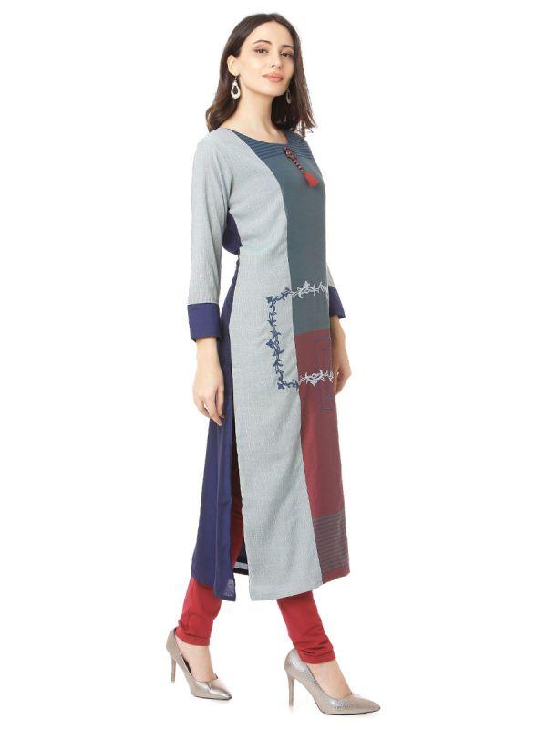 Grey Colour Embroidery Multicolour Strips Kurti