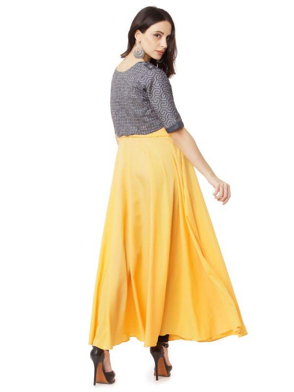 Yellow Georgette Anarkali Kurti With Denim Jacket