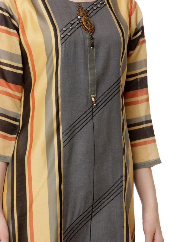 Embroidery Rayon Multicolour Strips Straight Kurti