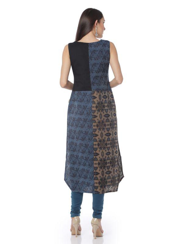 Art Silk Straight Kurti Denim Effect With Side Slits