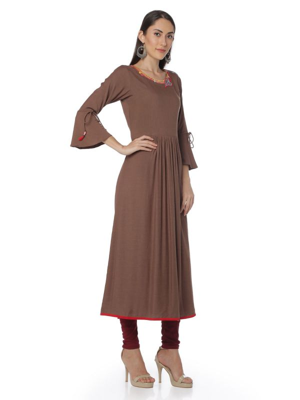 Plain Brown Colour Georgette A Line Casual Kurti With Embroidery Round Neck