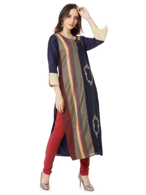 Navy Blue Colour Embroidery Multicolour Strip Kurti Along Side Slits