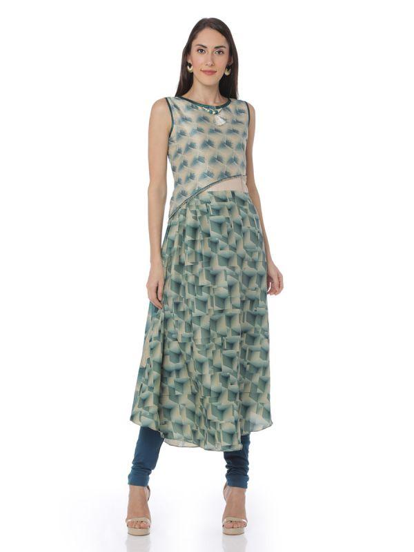 Green & Cream Colour Two Layered Art Silk Kurti Along Side Slits