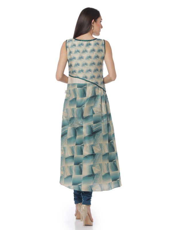 Green & Cream Colour Two Layered Art Silk Kurti Along Side Slits