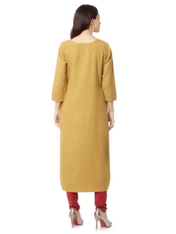 Camel Colour Kurti With Multi Strips Style