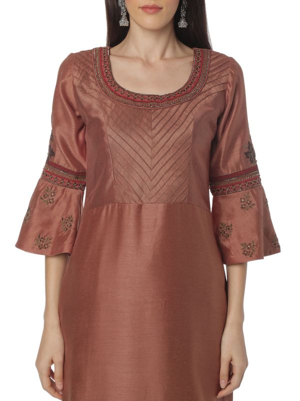 Brown Art Silk Salwar Pant Set With Pintex Yok Work Along With Pashmina Dupatta