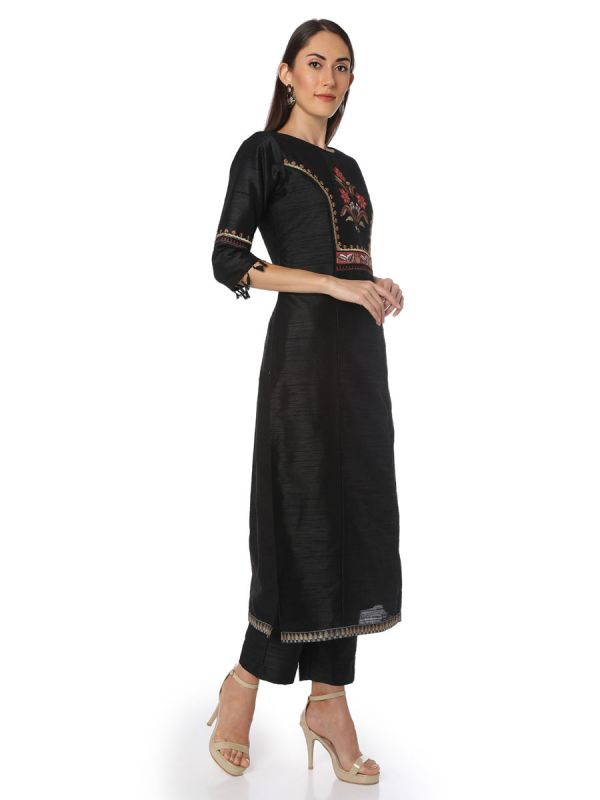 Black Salwar Pant Set With Heavy Embroidery On Sleeves Along With Dupatta