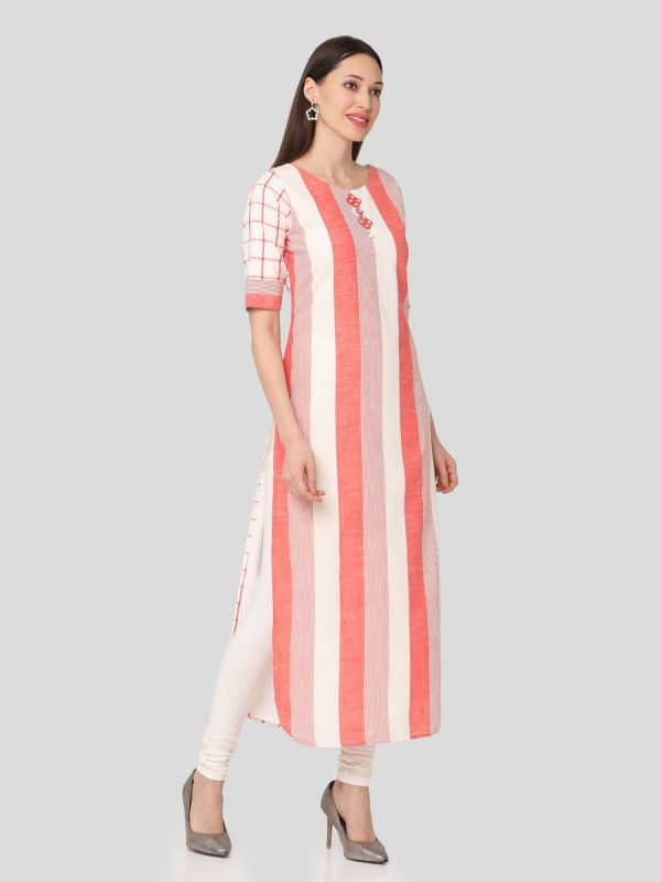Pure Cotton Stripes Straight Kurti With Checks Sleeves