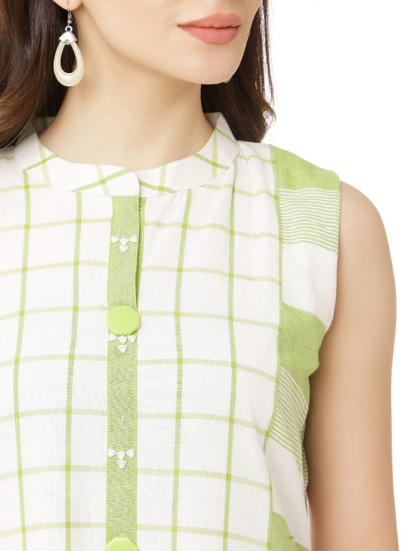 White & Green Pure Cotton Checks Kurti With Button Neckline