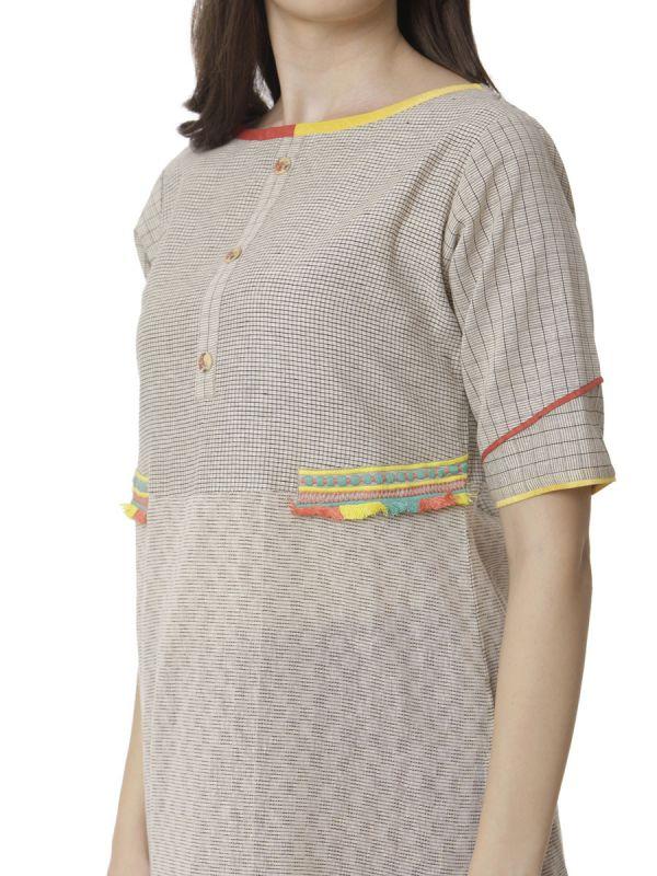 Beige Colour Casual Wear Checks Kurti