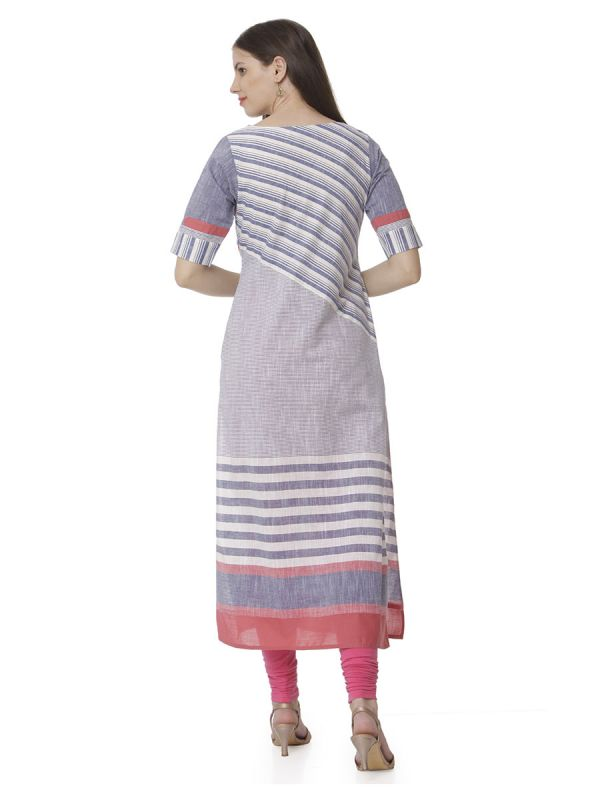 Voilet Colour Parallel Stripes Casual Kurti With Side Slits
