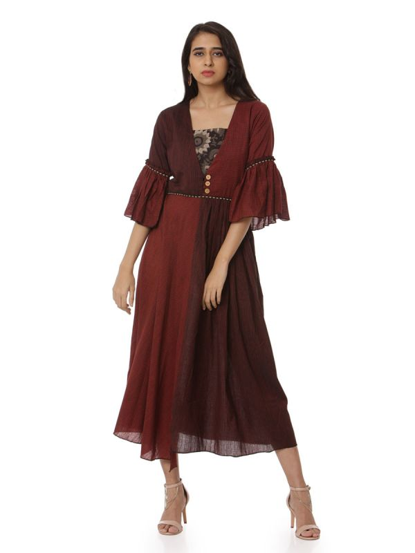 Dark Maroon Colour Party Wear Kurti With Fancy Sleeves
