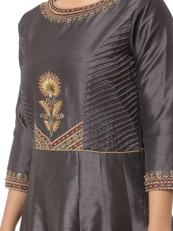 Dark Grey Art Silk Salwar Pant Set With Machine Embroidery Work Along With Pashmina Dupatta
