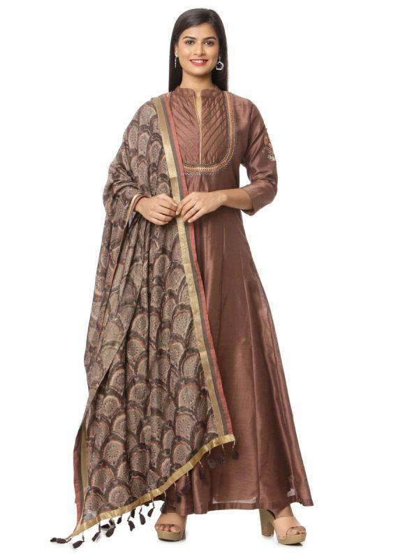 Brown Art Silk Salwar Pant Set With Embroidery Yok With Pintex Along With Pashmina Dupatta