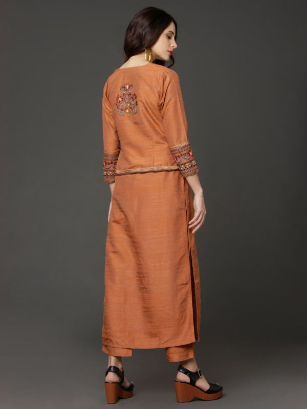 Ochre Colour Art Silk Salwar Pant Set With Embroidery Short Jacket And Pashmina Dupatta