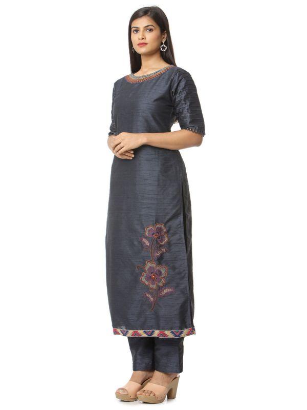 Dark Grey Salwar Pant Set With Machine Embroidery Work And Pashmina Dupatta