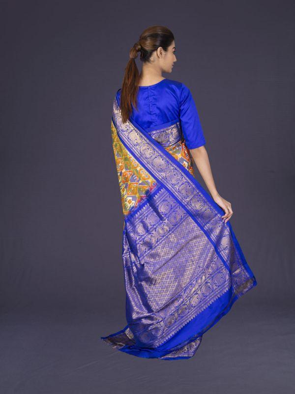 Mustard With Royal Blue Kanjivaram Patola Silk Saree