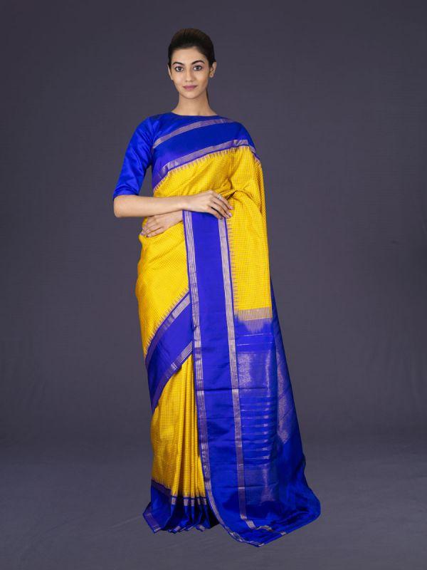Yellow With Royal Blue Kanjivaram Silk Saree