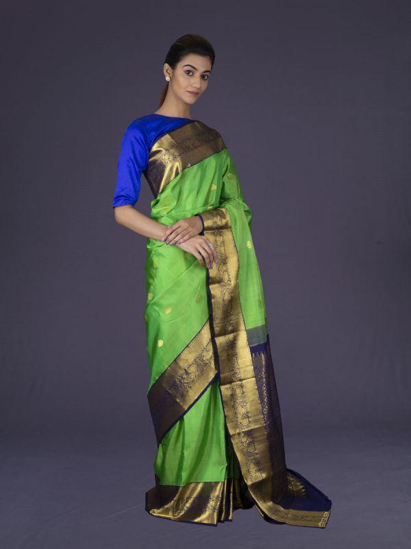 Parrot Green Kanjivaram Silk Saree