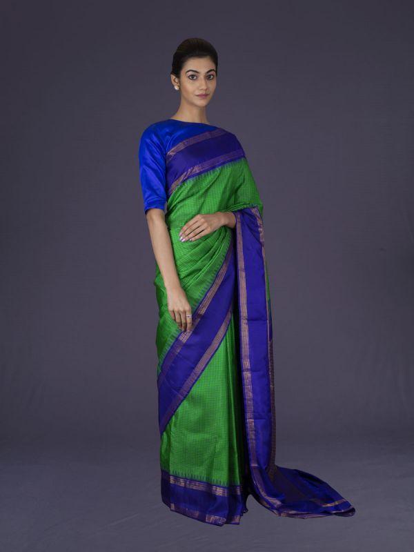 Green With Ink Blue Kanjivaram Silk Saree