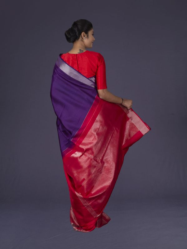 Magenta With Red Kanjivaram Silk Saree