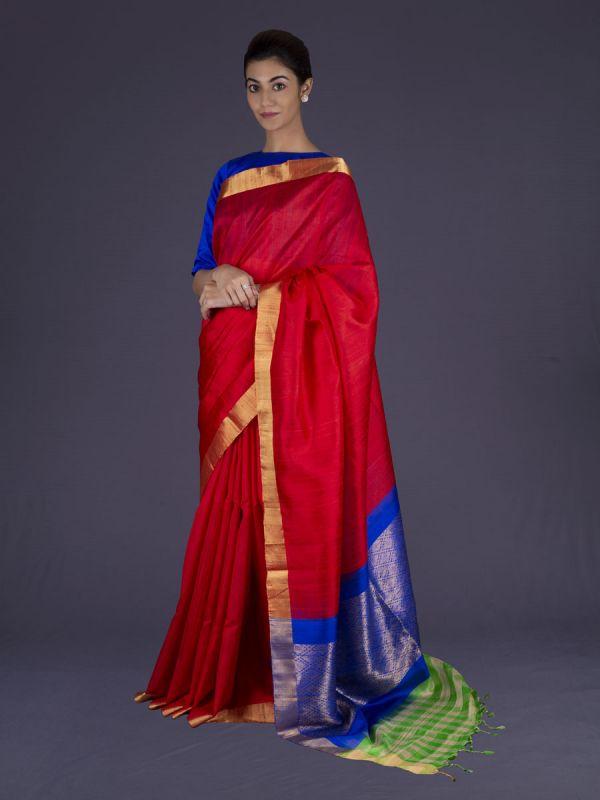 Red Dupion Silk Saree