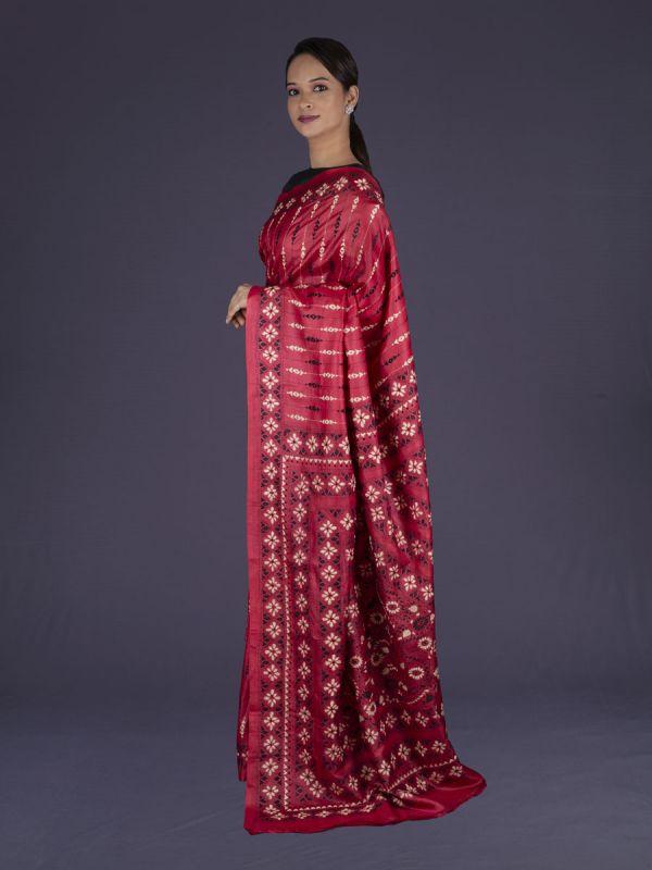 Red Khadi Silk Saree