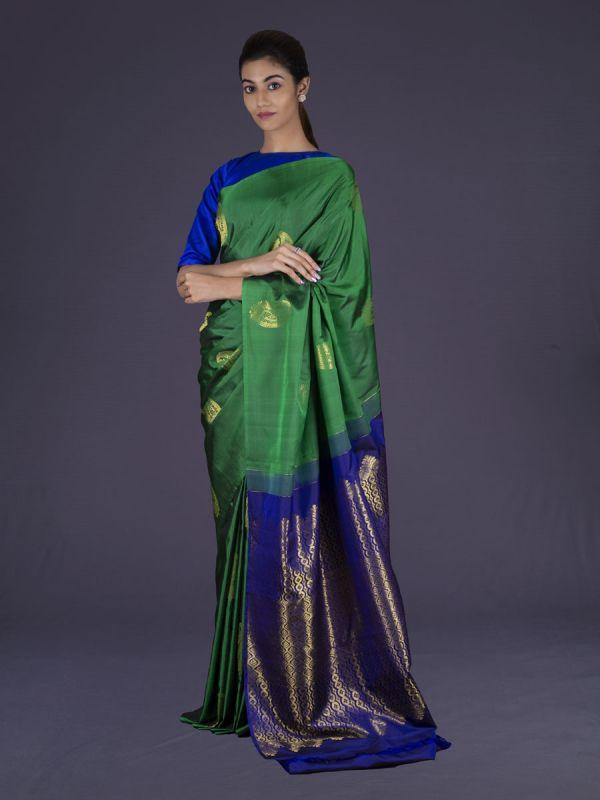 Green With Royal Blue Kanjivaram Silk Saree